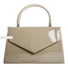 New Stylish Nude Patent Wedding Ladies Party Prom Evening Clutch Hand Bag Purse