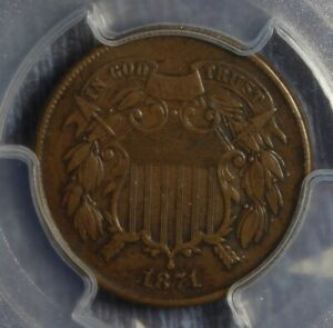 1871 2 CENT PIECE COLLECTOR COIN PCGS VF35 FREE SHIPPING