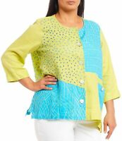 Ali Miles Women Jacket Blue Green 2X Plus Button-Down Eyelet Colorblock $84- 539