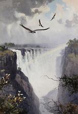 John Cyril HARRISON | ORIGINAL large watercolour | eagles VICTORIA Falls africa
