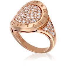 bvlgari bvlgari 18k pink gold diamond shield ring size 85