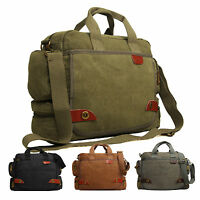 Mens Womens Ocello Canvas School Work College Uni Satchel Messenger Shoulder Bag