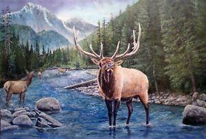 William John Jr Bull Elk Guarding the Ladies 24x36 Acrylic Landscape Painting