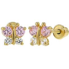 14k Yellow Gold Butterfly Baby Girl Toddlers Screw Back Earrings Clear Pink CZ