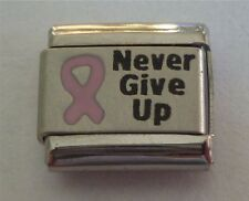 9mm Classic Size Italian Charm L28 Pink Breast Cancer Never Give Up