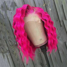 Luxury Lace Front Remy Crimp Hot Pink Deep Wave Full Lace Human Hair Wig Fuchsia