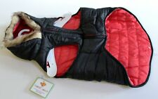 Dog Jacket Puffer Coat Faux Fur Hood Reversible Black Red Size L