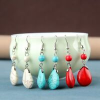Retro Simple Drops Natural Stone Turquoise Earrings Featured Texture Stone  U9H1