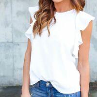 Summer Women  Solid Ruffle Sleeveless T Shirt Ladies Chiffon Tops Casual Blouse