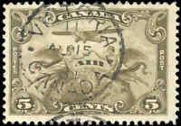 Used Canada 1928 5c F+ Scott #C1 Air Mail Stamp