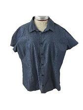Van Heusen blouse top size XXL 2XL cap sleeve shirt blue dotted
