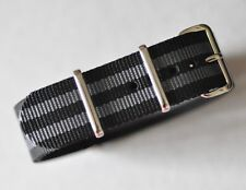 20mm Black & Gray (007 Bond) Strap for Dive Watch / Seiko / Omega Seamaster Band