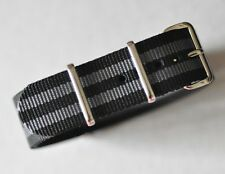 21mm Black & Gray (007 Bond) Strap for Dive Watch + Fits Omega Seamaster Band