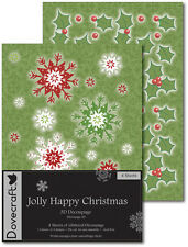 Dovecraft JOLLY HAPPY CHRISTMAS 3D Decoupage (Die Cut) 4 X A4 Glitter Sheets