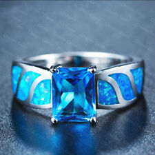 Newest Fire Blue Topaz Cubic Zirconia Blue Fire Opal Gemstone Rings Size 5-10