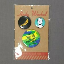 More details for andy warhol limited edition - 3 pin badges various sizes - brand new
