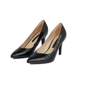 Dorothy Perkins Black Crocodile Design Drake Pointed Toe Court Shoes Size Uk 6