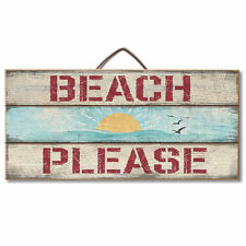 BEACH PLEASE, Nautical, Sunshine, Reclaimed Pallet Pine Wood Sign Hang or Easel