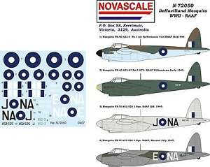 RAAF Decals Mosquito WWII 1/72 Scale N72050