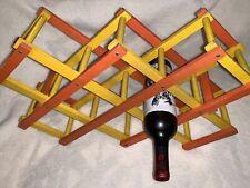 Vintage Accordion Wooden Expanding/Folding MCM 8 🍷🍾Wine Bottles Rack/Holder