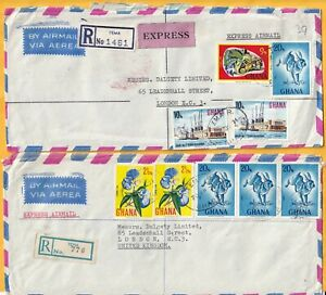 A4793 Ghana 12 different multi-stamp covers UK; 1961 onwards, mainly 1970s