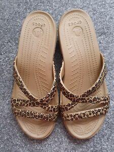 Animal print Crocs Sandals us size 9, UK size 7 wedge slip on, leopard print