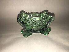 Antique Lacy Sandwich Pressed Glass Salt BF -1 Basket Flowers Green Ca. 1850