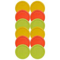 Pyrex 7201-PC (4) Yellow (4) Orange (4) Green Storage Lids 12PK for 4 Cup Bowl