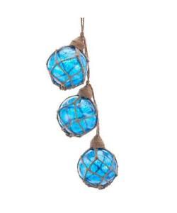 "7"" Long Glass Blue Buoy Ocean Nautical Boating Float Christmas Ornament"