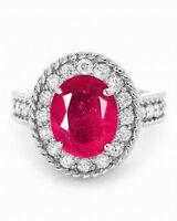 585er Weißgold 1,90 Karat Natürlich rot Rubin EGL Zertifiziert Diamant Ring