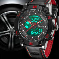 OHSEN Mens Sport Watch Genuine Leather Large Face LCD Digital Quartz Watches New