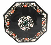 "24"" Black Marble Coffee Table Top Rare Marquetry Mosaic Inlay Work Garden Decor"