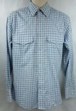 Wrangler mens western blue white pearl snap cotton long sleeve shirt size M