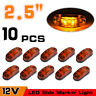 """10x Oval 2.5"""" LED Clearance Side Marker Lights Lamp 2 Diode Truck Trailer Amber"""