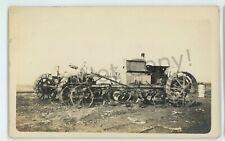 RPPC Steam Gas Engine Tractor Plow Farming Rural Americana Real Photo Postcard 3
