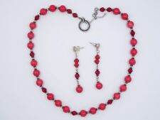 VTG RED BAMBOO CORAL GEMSTONE and CRYSTAL BEADS STERLING NECKLACE & EARRING SET
