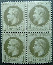 FRANCE 1863-70 NAPOLEON III 1c BRONZE-GREEN BLOCK OF 4 STAMPS - MH - SEE!
