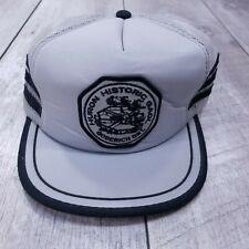 Vintage Huron Historic Gaol 3 Tri Stripe Trucker Hat Cap SnapBack Gray Headwear