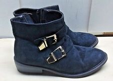 Steve Madden Women Suede Black Biker Ankle Boot Plain Toe Casual Winter Shoes 7M