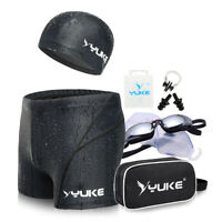 Black 1 SET Swim Goggles Swimming Cap Trunks Nose Clip Ear Plug With Hand Bag
