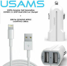 USAMS DUAL USB CAR CHARGER & Apple Lightning Cable For iPhone 6 5 5C 5S