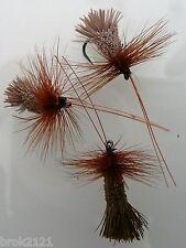3 x mouches sedges poil de chevreuil H14 barbless  truite ombre