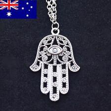 Silver Colored Hamsa Pendant + Chain ~ Hand of Fatima Necklace