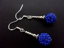 A PAIR BLUE SHAMBALLA STYLE  EARRINGS WITH 925 SOLID SILVER HOOKS. NEW..