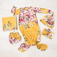 US 3Pcs Floral Swaddle Wrap Blanket Baby Sleeping Bag Sleepsack Headband Hat Set