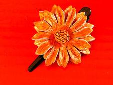 BARRETTE / PINCE A CHEVEUX CUIR FLEUR ARTISANAT orange leather hair barrette