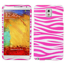 For Samsung Galaxy Note 3 Rubberized HARD Case Snap Phone Cover Pink White Zebra