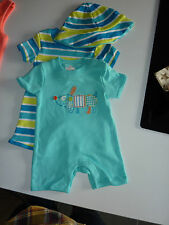 2 Really Cute Little Summer Romper Suits with Matching Hat NWT