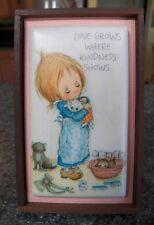 Vintage Hallmark Little Gallery Betsey Clark Wood/Ceramic Plaque 1980 Walnut