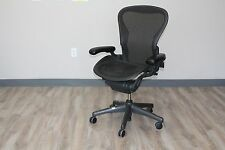 Herman Miller Aeron Chair In Size B In Carbon Pellicle Classic On Graphite